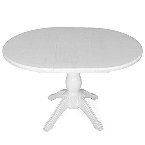 Esstisch Tisch Holztisch Ausziehbar Rund 80 25 Kiefer Massiv Weiss Amazon