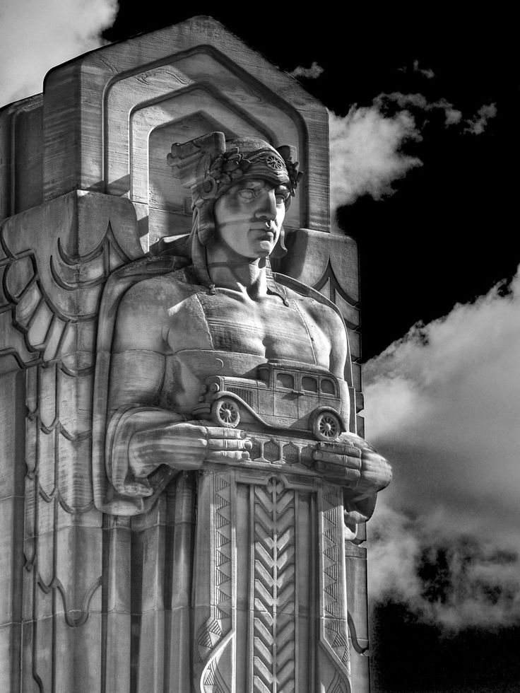 """One of eight Abutment Guardians on the Hope Memorial Bridge in Cleveland, Ohio, connects Lorain Ave. & Carnegie Ave. over the Cuyahoga River & """"The Flats."""""""
