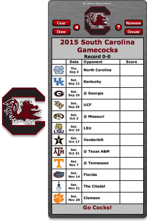 Free 2015 South Carolina Gamecocks Football Schedule Widget for Mac OS X - Go Cocks!  http://riowww.com/teamPages/South_Carolina_Gamecocks.htm