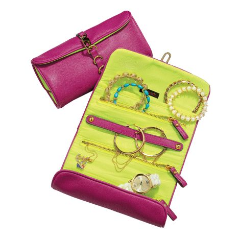 AVON MARK. GLAM AND ROLL JEWELRY CASE A pop of color and a wonder of convenience.  Keep your jewellery protected and organized in this fabulous case.  FEATURES:  - 3 zippered pockets  - 1 slip pocket  - 1 necklace/earring bar.  #avon #travel #jewelry #jewelrycase