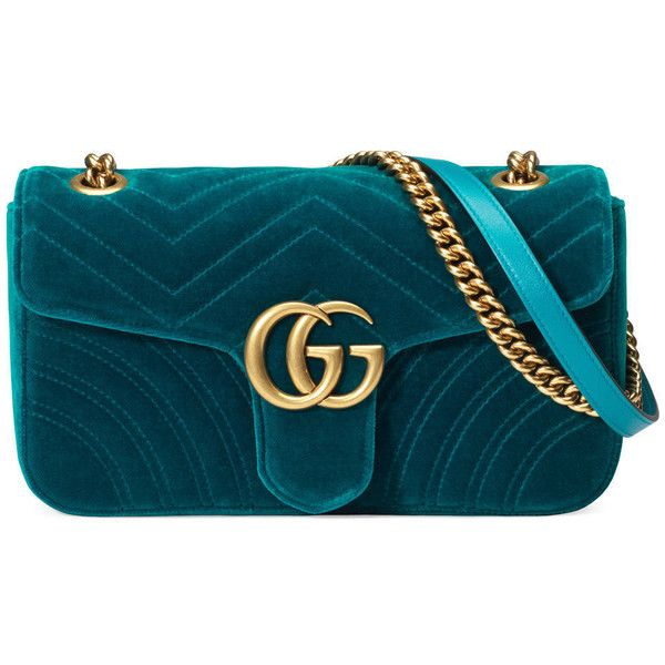 Gucci Gg Marmont Velvet Shoulder Bag found on Polyvore featuring bags, handbags, shoulder bags, petrol blue, gucci handbags, blue shoulder bag, chain shoulder bag, structured handbags and structured purse