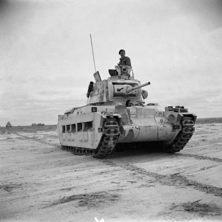 BRITISH ARMY NORTH AFRICA 1942 (E 9560)   A Matilda tank on patrol in the Western Desert, 1942.