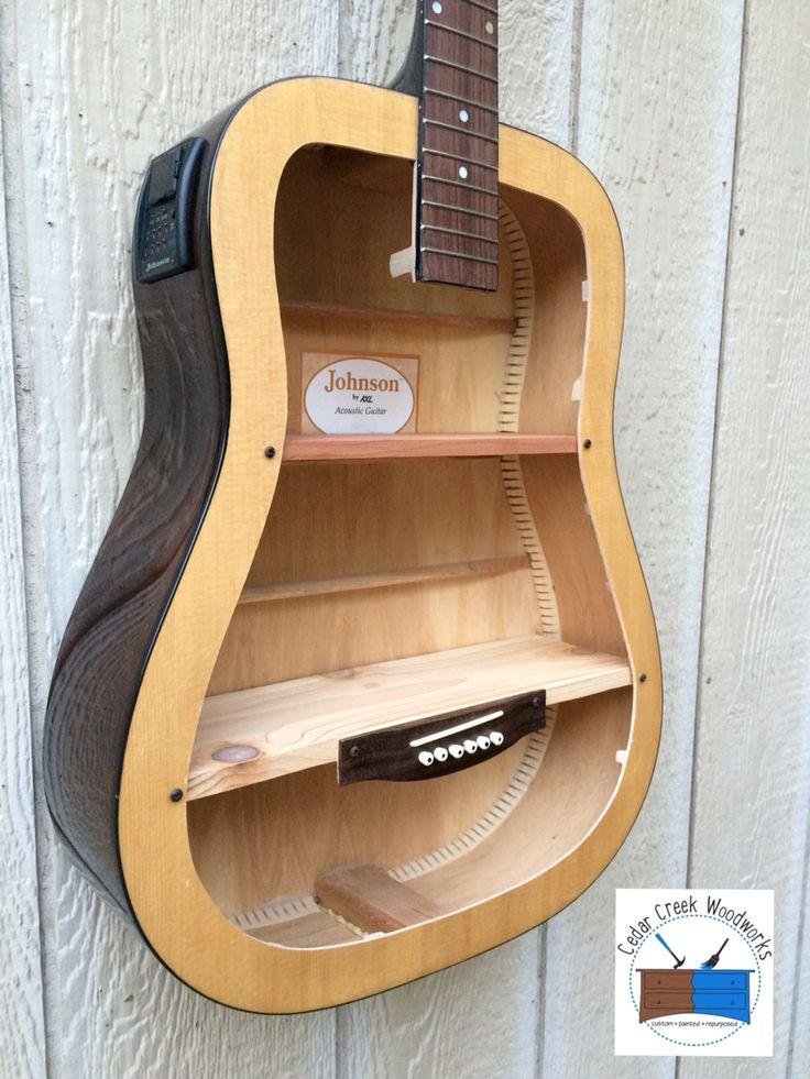 Guitar repurposed into shelf. Guitar shelf.