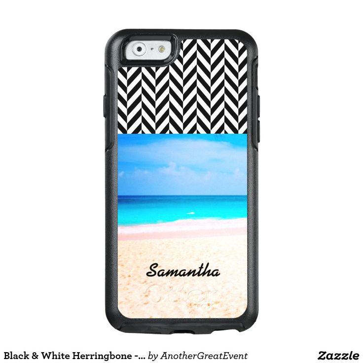 Black & White Herringbone - Beach View -