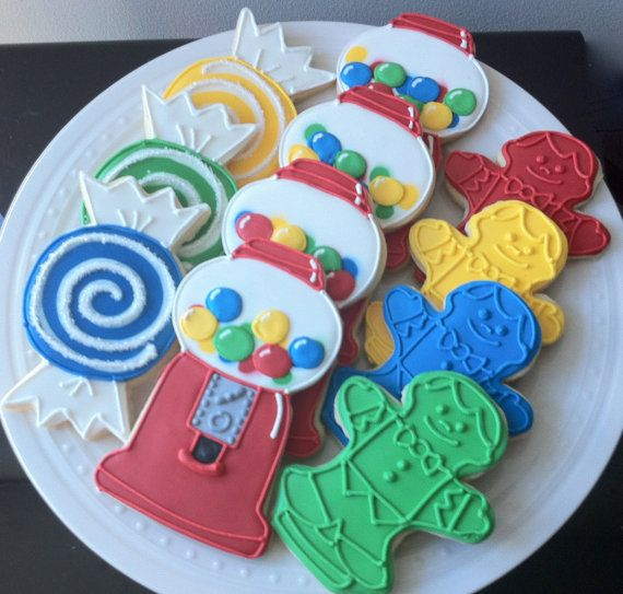 Decorated Candyland Birthday Cookies- bubblegum machines, game pieces, and candies, great favors