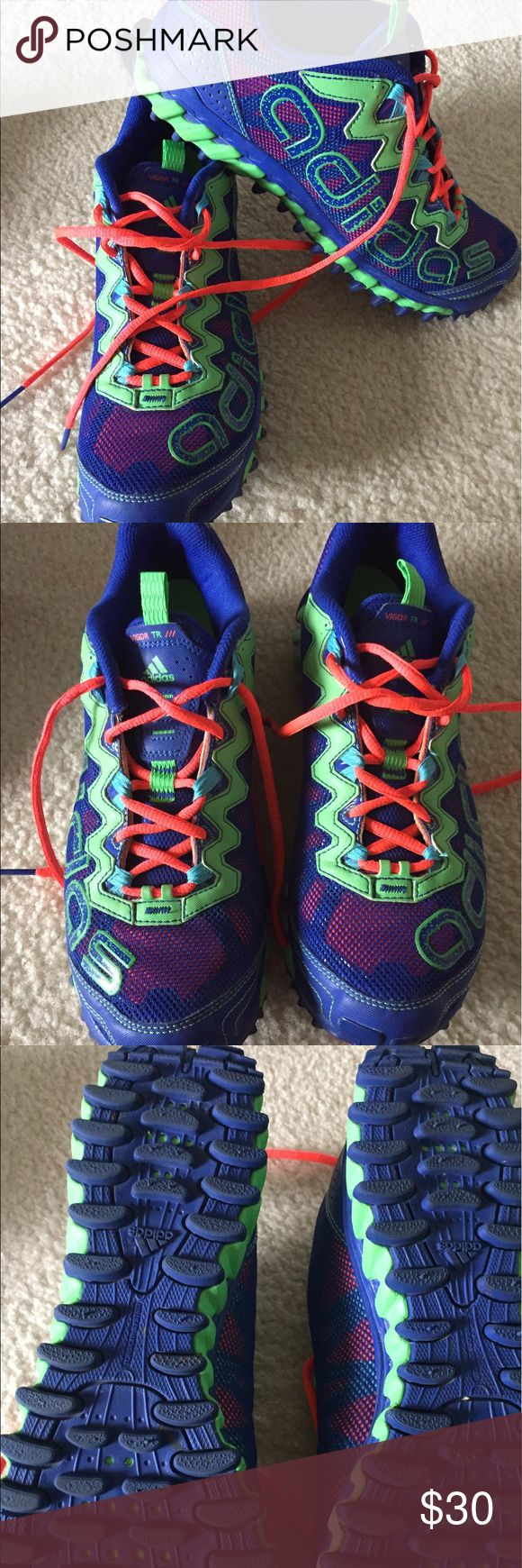 Women's Adidas trail running shoes - SZ 11 Hey ladies I know these are an 11 but the for like a 10. I typically wear a 9.5/10 and these seem to run a bit small so if you wear a 10 normally they should fit perfect!!!!  In great condition have only been worn a handful of times. Super bright and colorful!  A blue purple with orange and bright green accents. Good traction and comfy! adidas Shoes Sneakers