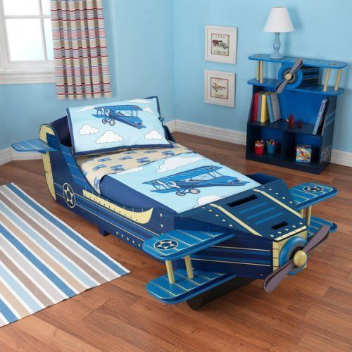 Airplane Convertible Toddler Bed Blue Kids Bedroom Furniture Propeller Spins…