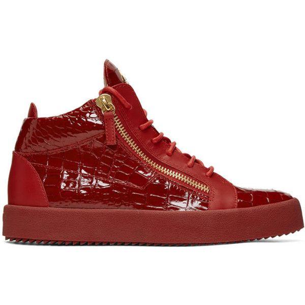 Giuseppe Zanotti Red Patent Croc May London High-Top Sneakers ($775) ❤ liked on Polyvore featuring men's fashion, men's shoes, men's sneakers, red, crocs mens shoes, mens high top sneakers, mens rubber sole shoes, mens zipper shoes and giuseppe zanotti mens sneakers