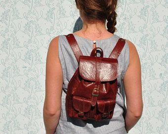 Sac à dos en cuir, petit sac à dos, sac à dos petits articles en cuir, sac à dos en cuir marron, sac à dos en cuir africain, sac à dos en cuir minuscules