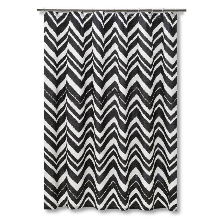 Mudhut Chevron Zig Zag Shower Curtain Black White 6 X6