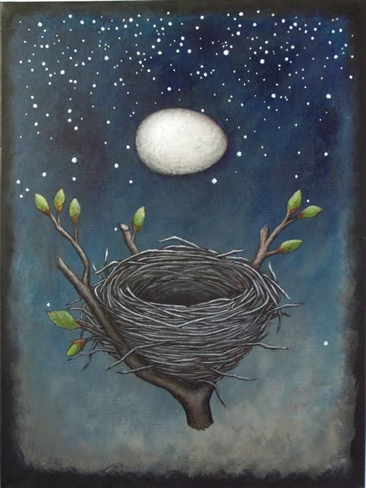 Love this mixed media artwork from UGallery. The Nest that Sailed the Sky by Jennifer Ross