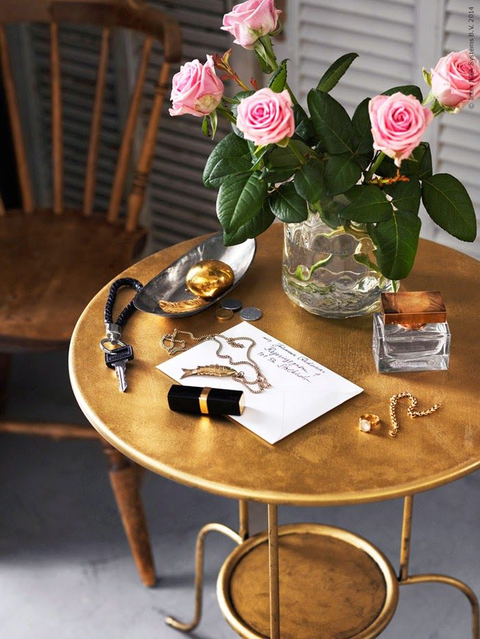 Poppytalk: 9 Super Pretty DIYs to Try - ikea linvet side table + gold paint