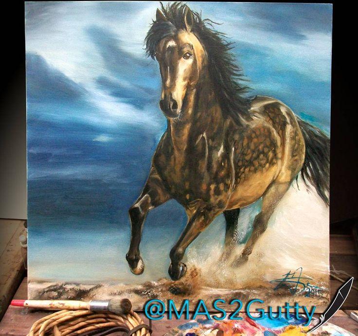 Espartano 🎠🎨📷 Oil/Canvas #caballo #cavalier #cavalo #horse #pasofino #mustang…