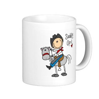 """Our Saddle Up Cowboy T-shirts, mugs, tote bags, cards, stickers, and other cowboy design gear features a stick figure cowboy on a horse and text that reads """"saddle up""""! You can add a name or other text easily on the spot! #stick #figure #unioneight #peacockcards #stick #figure #family #stick #man #cowboy #cowboy #shirt #western #wild #west #ride #em #cowboy #cowboy #tshirt #cowboy #stuff #cowboy #mug #cowboy #stickers #love #cowboys #love #a #cowboy #cowboy #gear #personalized #cowboy ..."""