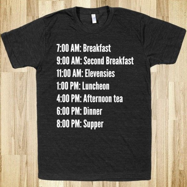 This is MY schedule! ~ hobbit-schedule-dark.american-apparel-unisex-athletic-tee.athletic-black.w760h760