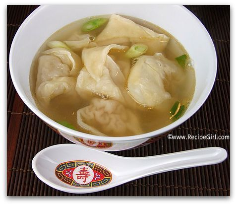 Wonton Soup - This website actually shows you how to fill and fold wonton properly.
