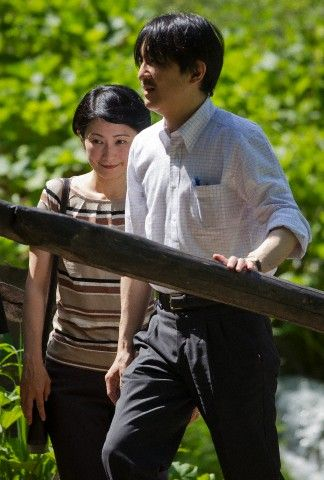 Japanese Prince Akishino, right and the Princess Akishino, visit the National Park in Plitvice, Croatia, 21 June 2013.