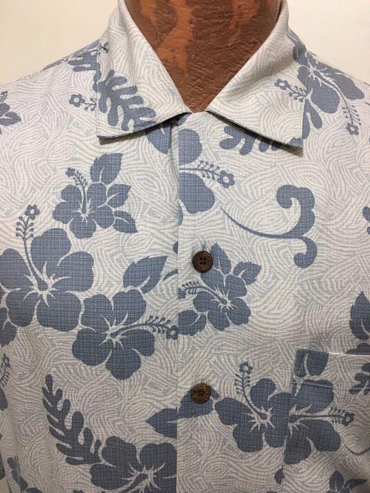 Tommy Bahama Mens M Light Blue Hibiscus Tropical Flowers Hawaiian Silk Shirt  #TommyBahama #Hawaiian
