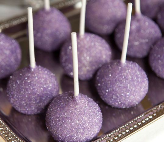 Lavender Sugar Coated Cakepops: perfect wedding dessert...maybe for the kids at the wedding reception?