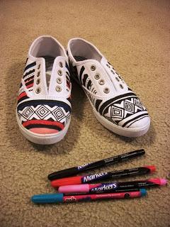 DIY Tribal Print Sneakers.... too bad im not talented :(