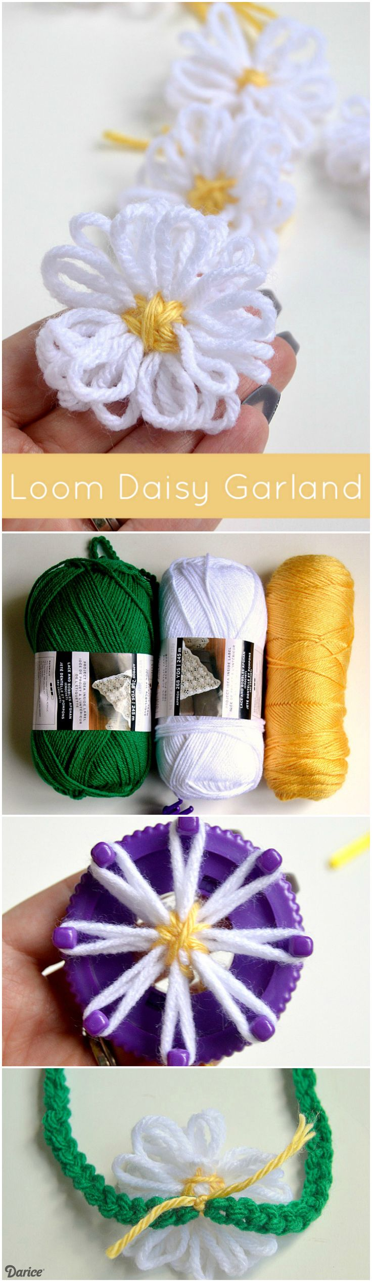 Learn how to make DIY yarn flowers using a mini loom knitter. Then decorate a crocheted spring garland with your darling loom daisies.