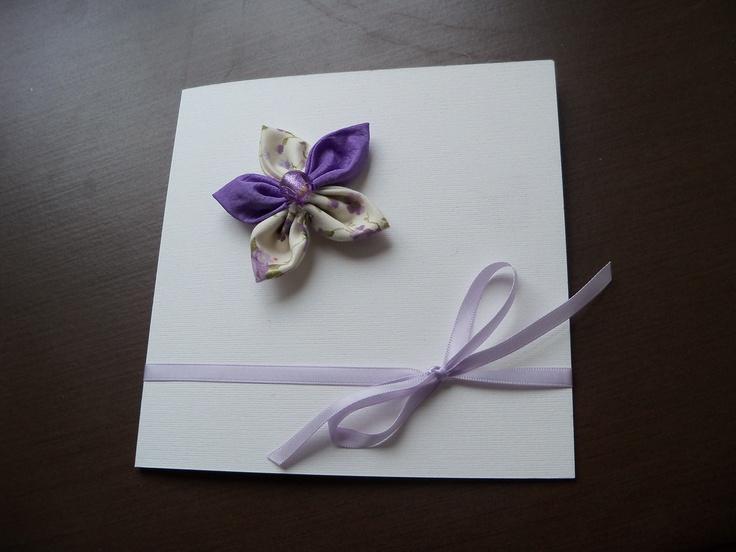 white & violet flower card