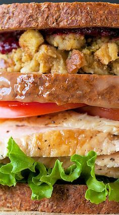 Thanksgiving Turkey Sandwich… with a Moist Maker (a gravy soaked slice of bread in the middle)
