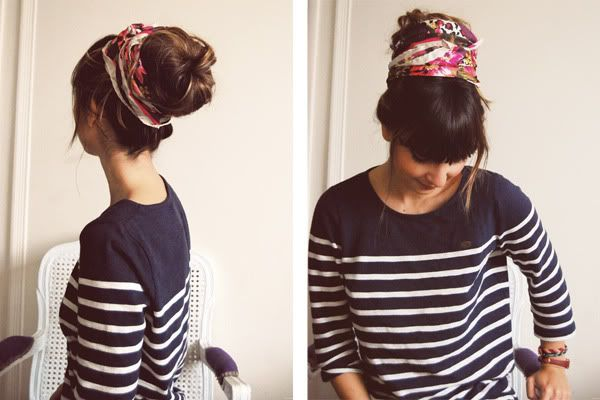 Sock bun with a scarf!