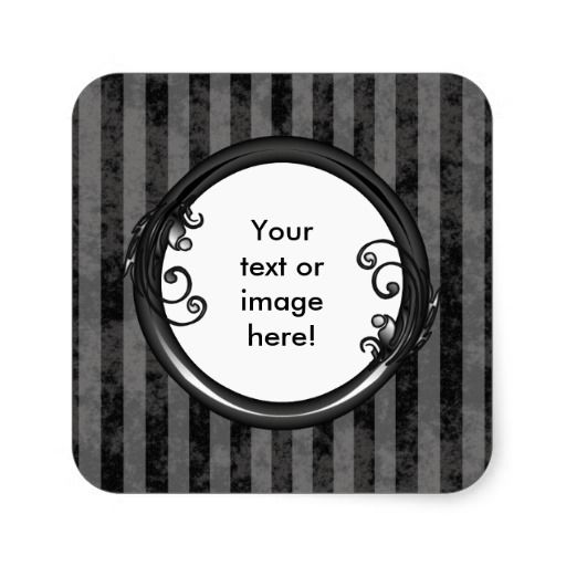 http://www.zazzle.com/black_grey_dark_vintage_frame_sticker-217876117471963570?rf=238523064604734277 Black Grey Dark Vintage Frame Sticker - This square sticker has a black and grey striped, grunge background which looks faded and old. Place your name or picture inside the shiny black frame with leaves and swirly vines growing from it. This can also be used a a beautiful product label.