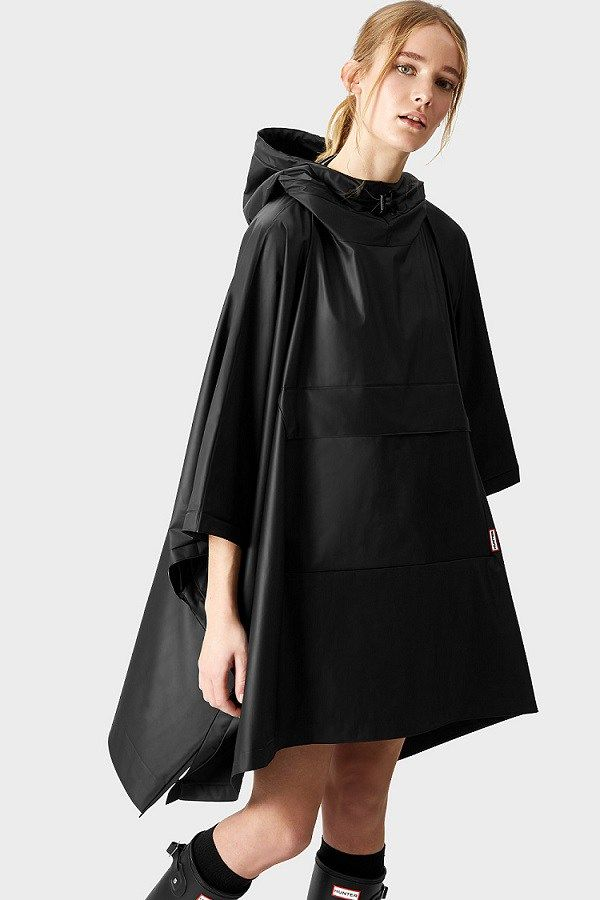 48f572d2f Black Vinyl Rain Poncho – A Hunter Origonal wet weather outerwear  essential, this soft and lightweight Black unisex poncho is completely  waterproof.