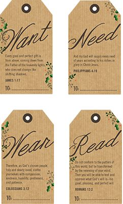 printable tags with bible verses for 4 christmas gifts something they want need wear and read printables pinterest christmas christmas gifts and