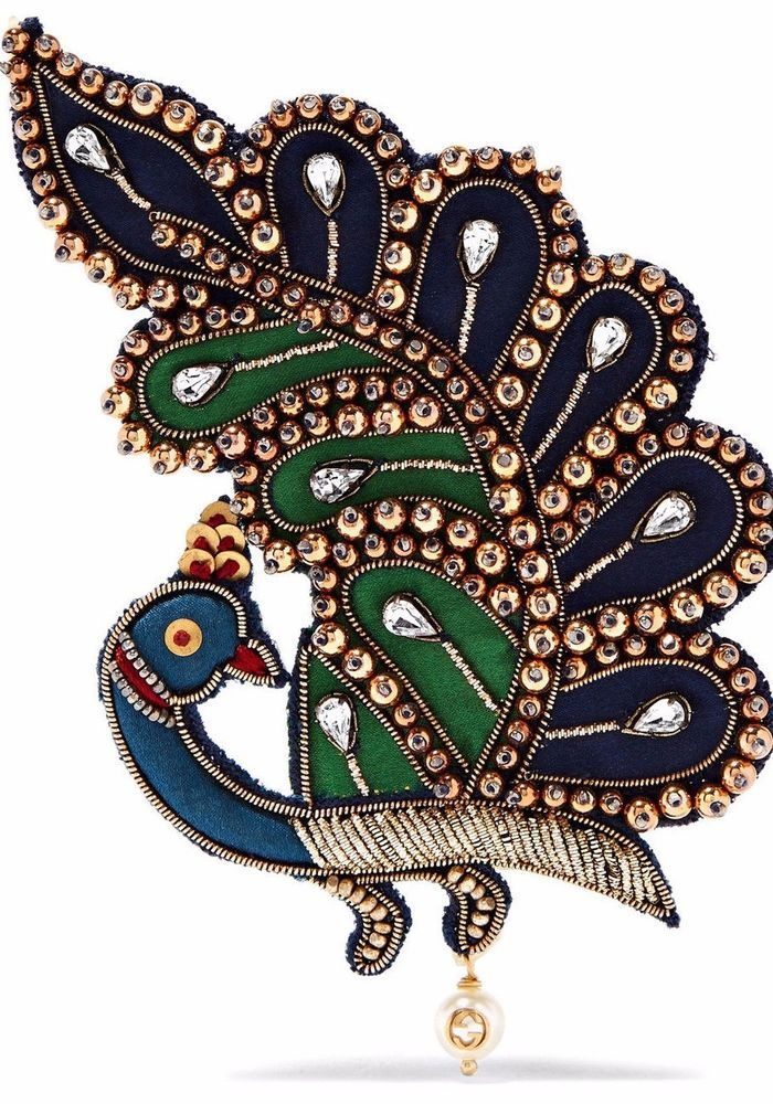 9d760753f85 GUCCI Peacock Brooch BIRD Navy Blue Green Black Red Hand Jewels Gold ITALY  NIB  Gucci