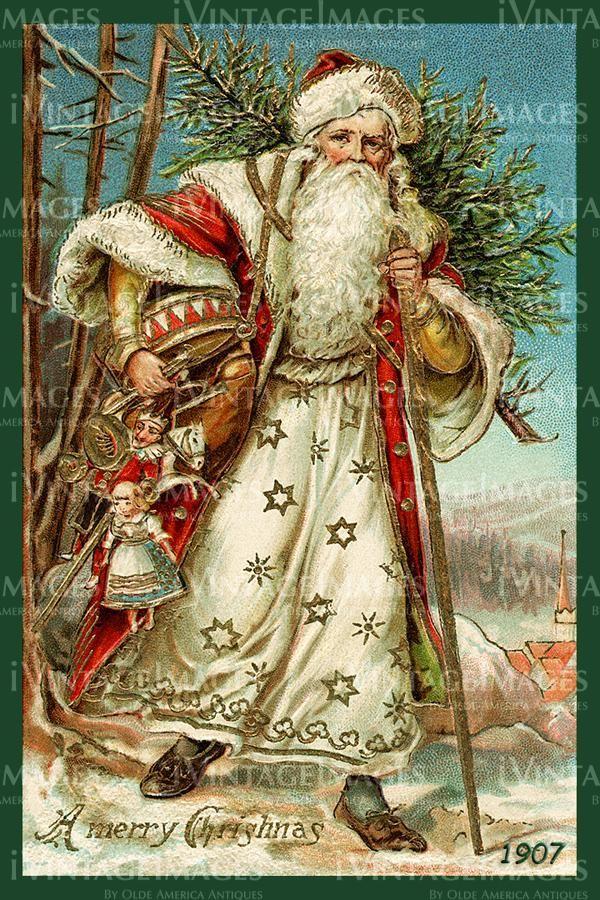 14 SANTA CLAUS FATHER CHRISTMAS HOLLY FABRIC NO
