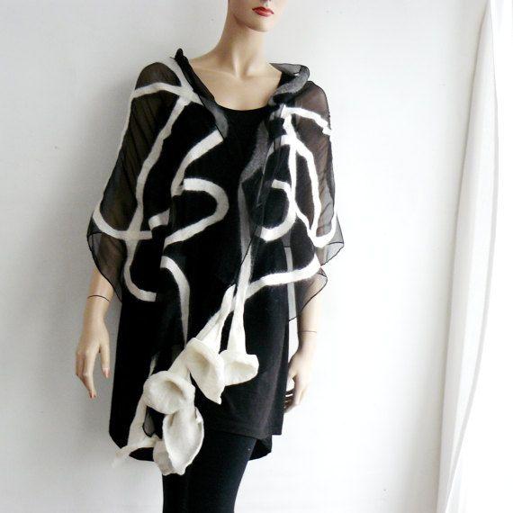 Nuno fieltro bufanda larga seda y lana blanco y negro