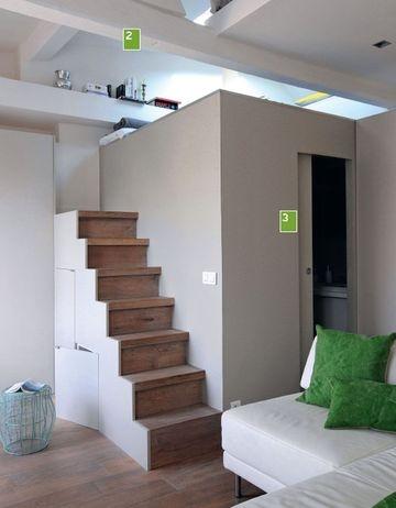 Studio, salle de bain et mezzanine  Source: http://www.cotemaison.fr/loft-appartement/diaporama/studio-32-m2-facon-duplex_17415.html?p=2#diaporama  Photo : Manuel Djamdjian