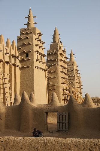 Towers of Djennes fascinating ancient mosque, the largest mud building in the world... by Raphael Bick, via Flickr