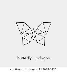 Polygonal geometric butterfly with a black outline. Vector illustration.