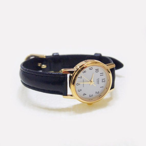 Casio White & Gold Watch  with black leather strap by amperesand, $40.00