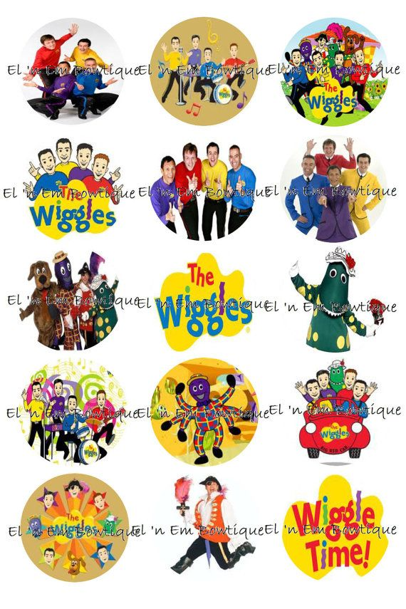 The Wiggles inspired 1 inch bottlecap image sheet by ElnEmBowtique