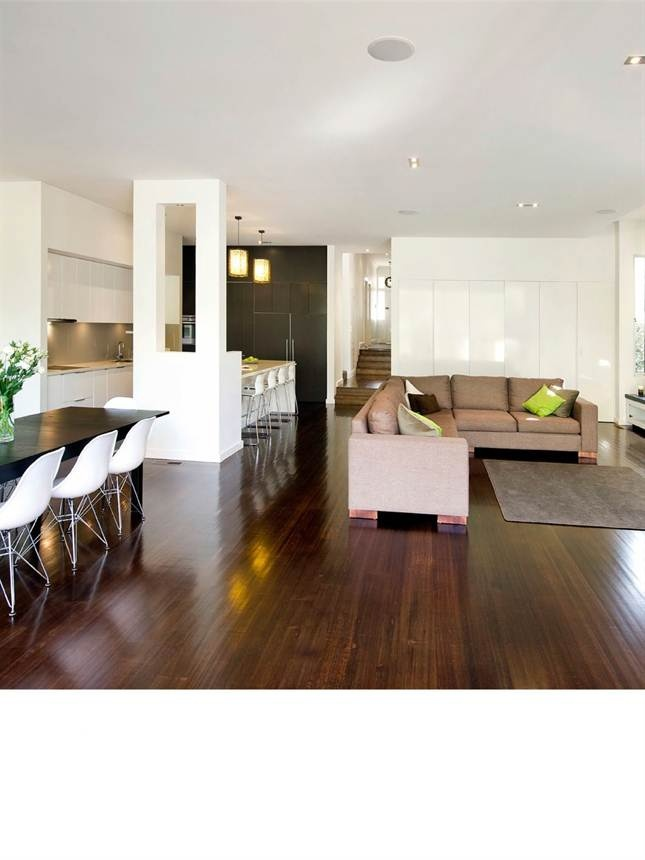 """Design spotlight. Glen Iris, Melbourne. an edwardian makeover. """"Stained Tasmainan Oak floorboards run from the hallway right through to the back of the house, creating a flow- on effect...""""Light Home Magazine : Light Home Autumn 2012, Page 58"""