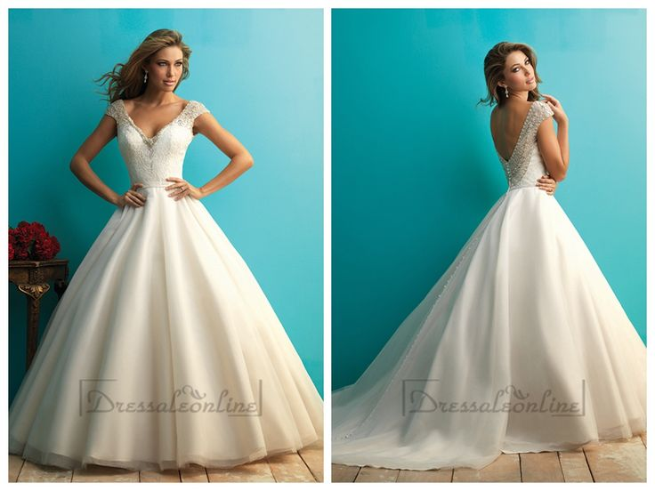 Beaded Cap Sleeves A-line Ball Gown Wedding Dress with Scoop Back