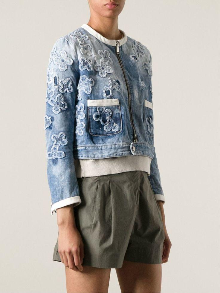 Dsquared2 Джинсовая Куртка С Цветочной Аппликацией - Emerson Renaldi - Farfetch.com
