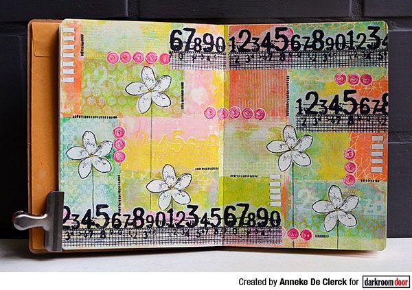 Gel printed art journal page by Anneke De Clerck using Darkroom Door Numbers Border Stamp.