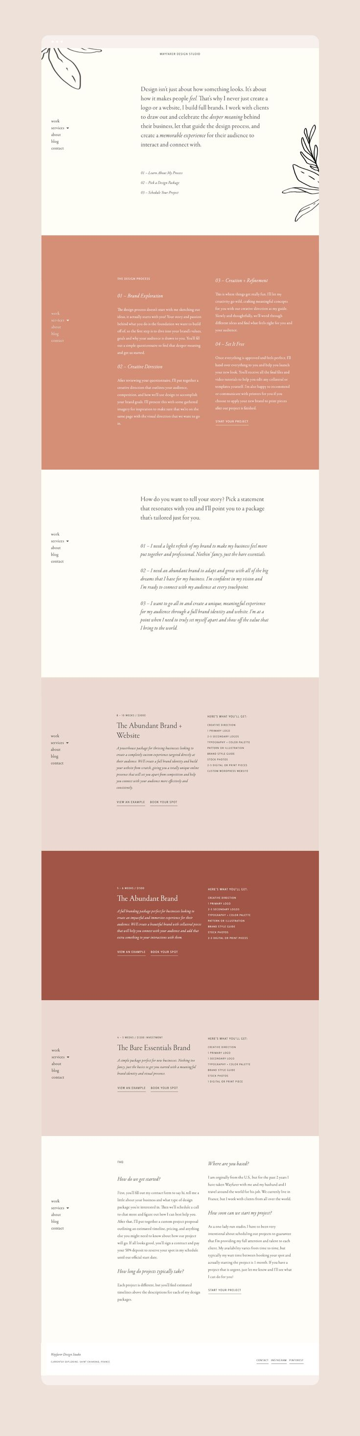 Web design by Wayfarer Design Studio // design, branding, brand, brand identity, logo, logos, graphic design, identity, web, website, website design, blogger, blog design, lettering, hand lettering, blogging, illustration, services page