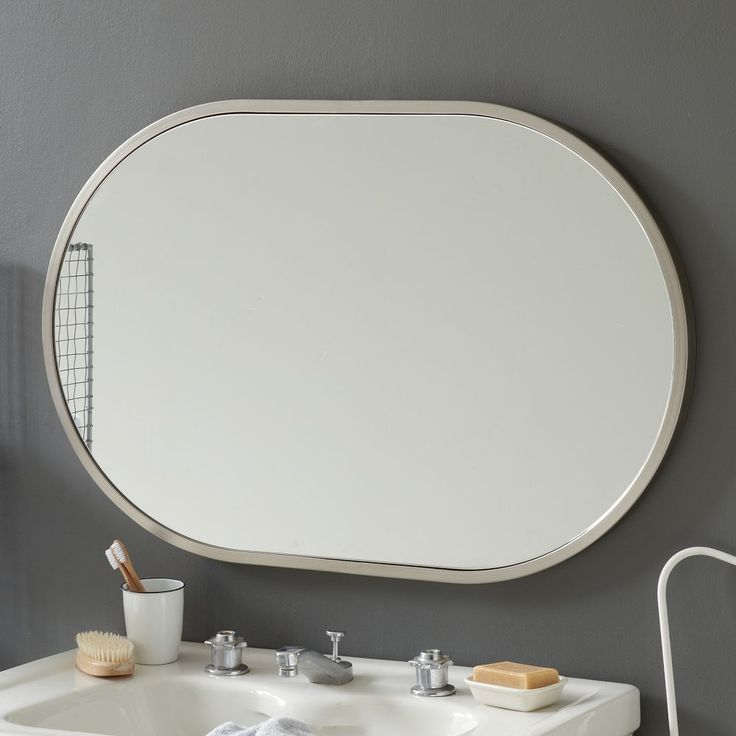 Metal Oval Wall Mirror Brushed Nickel Bathroom Pinterest Wall Mirrors Metals And