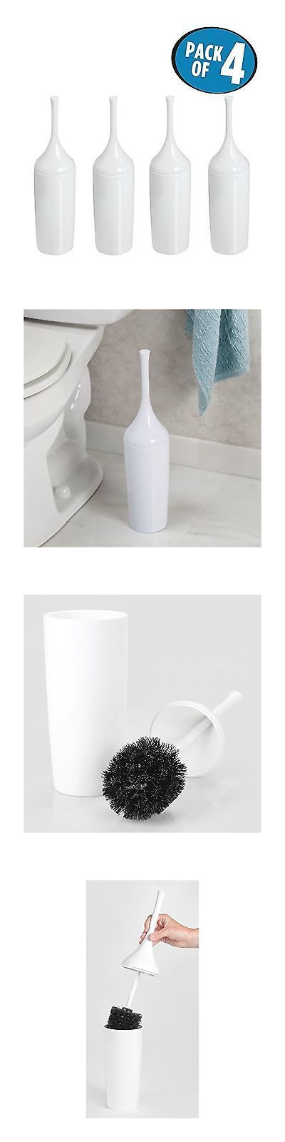 Toilet Brushes and Sets 66723: Mdesign Toilet Bowl Brush And Holder For Bathroom Storage - Pack Of 4 White -> BUY IT NOW ONLY: $43.77 on eBay!