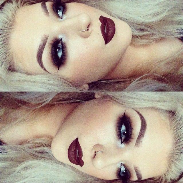 beautiful dark vampy lips and dark smoky eyes