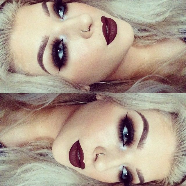 beautiful dark vampy lips and dark smoky eyes