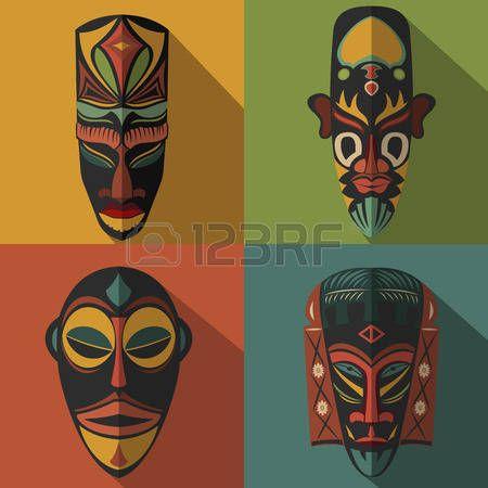 mascaras africanas: Conjunto de máscaras tribales étnicas africanas en el fondo de color. Iconos planos. Símbolos rituales.