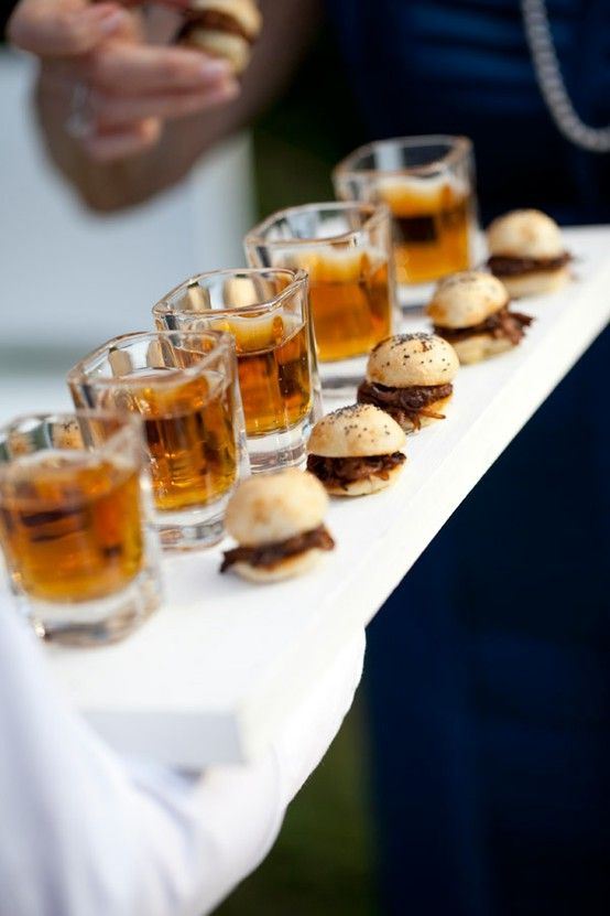 beer shots & mini pulled pork sandwiches